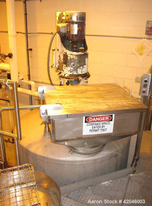 "Used-Tank, 650 Gallon, Stainless Steel, Vertical. Approximately 60"" diameter x 48"" straight side, dish top and bottom. Top m..."