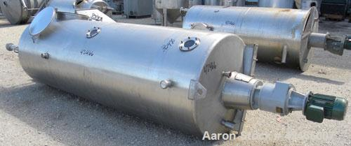 "Used-Tank, 600 Gallon, 304 Stainless Steel, Vertical. 39"" diameter x 120"" straight side, Slight dish top, flat bottom. 2 1/2..."