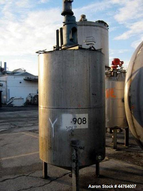 """Used- Tank, 550 Gallon, 304 Stainless Steel, Vertical.  48"""" Diameter x 72"""" straight side, flat top, 25"""" coned bottom.  Top e..."""