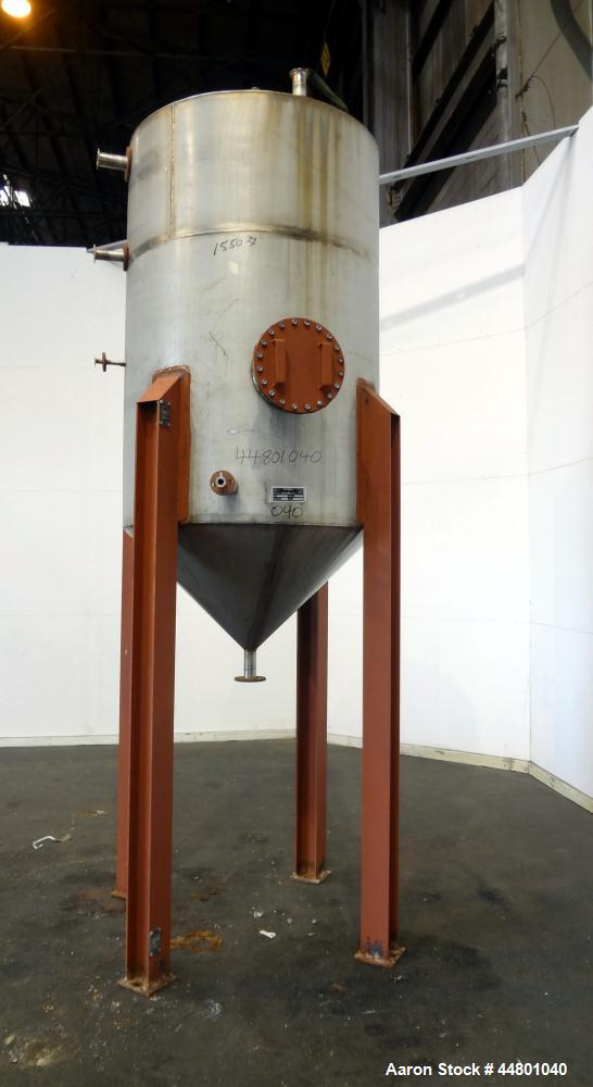"Used- Par Piping & Fabrication Tank, 575 Gallon, 321 Stainless Steel, Vertical. 48"" Diameter x 72"" straight side, coned top ..."