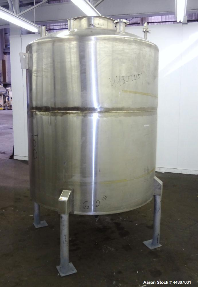 """Used- Tank, 575 Gallon, 316 Stainless Steel, Vertical. Approximate 54"""" diameter x 58"""" straight side, dished top, coned botto..."""