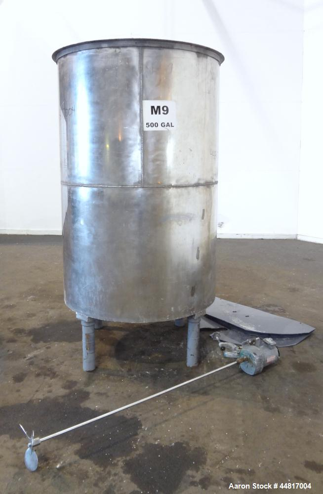 """Used- Tank, 550 Gallons, 304 Stainless Steel, Vertical. Approximately 48"""" diameter x 72"""" straight side. Flat open top with a..."""