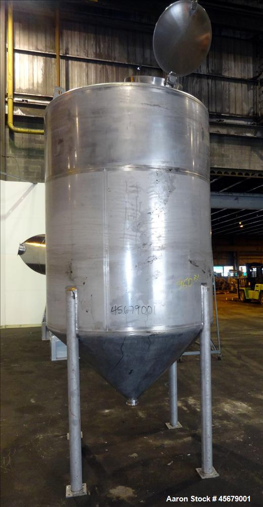 "Used- MFI Industries Tank, 900 Gallon, 316 Stainless Steel, Vertical. 60"" Diameter x 74"" straight side. Dished top, coned bo..."