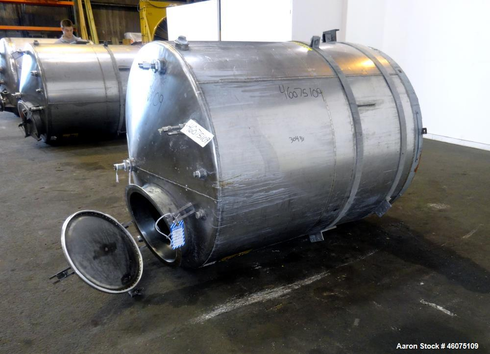 "Used- Tank, Approximate 650 Gallon, 304 Stainless Steel, Vertical. Approximate 55"" diameter x 59"" straight side, coned top &..."