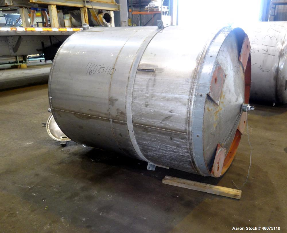 "Used- Tank, Approximate 650 Gallon, 304 Stainless Steel, Vertical. Approximate 55"" diameter x 58"" straight side, coned top &..."