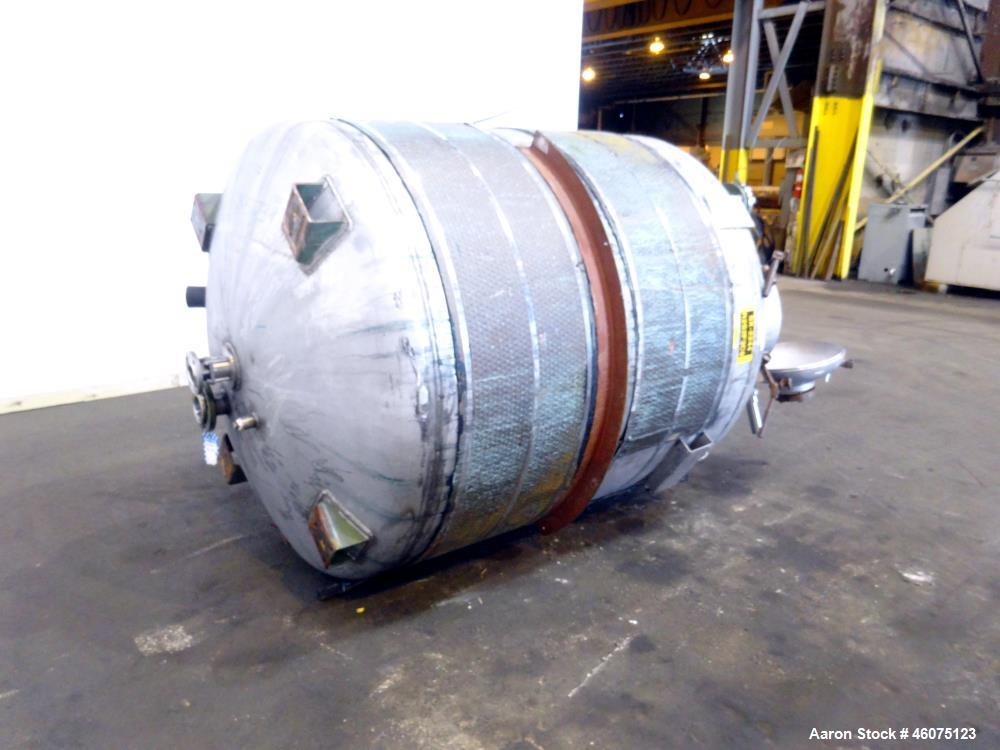 """Used- Tank, 950 Gallon, 316 Stainless Steel, Vertical. Approximate 64"""" diameter x 60"""" straight side, dished top & bottom. Op..."""