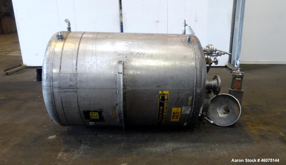 """Used- Tank, 500 Gallon, 304 Stainless Steel, Vertical. Approximate 48"""" diameter x 60"""" straight side, dished top and bottom. ..."""