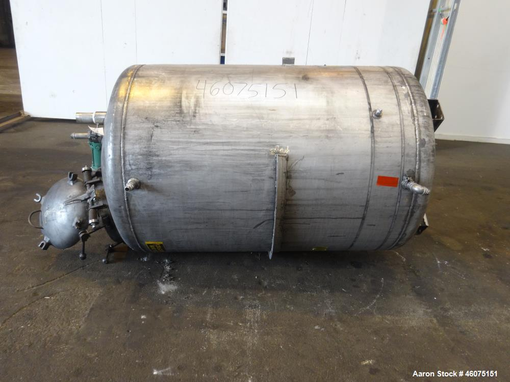 "Used- Tank, 500 Gallon, 304 Stainless Steel, Vertical. Approximate 48"" diameter x 60"" straight side, dished top and bottom. ..."