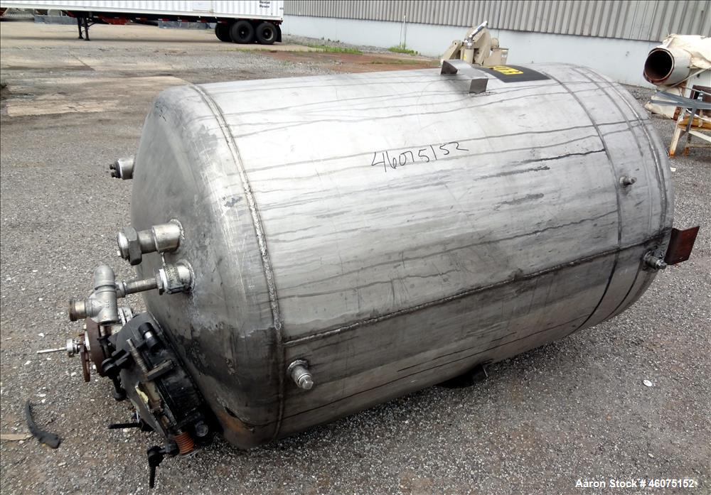 "Used- Tank, 500 Gallon, 304 Stainless Steel, Vertical. Approximate 48"" diameter x 60"" straight side, dished top & bottom. Of..."