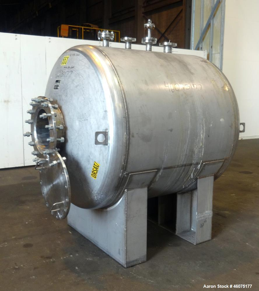 "Used- Tank, 700 Gallon, 316 Stainless Steel, Horizontal. Approximate 60"" diameter x 49"" straight side, dished ends. Openings..."