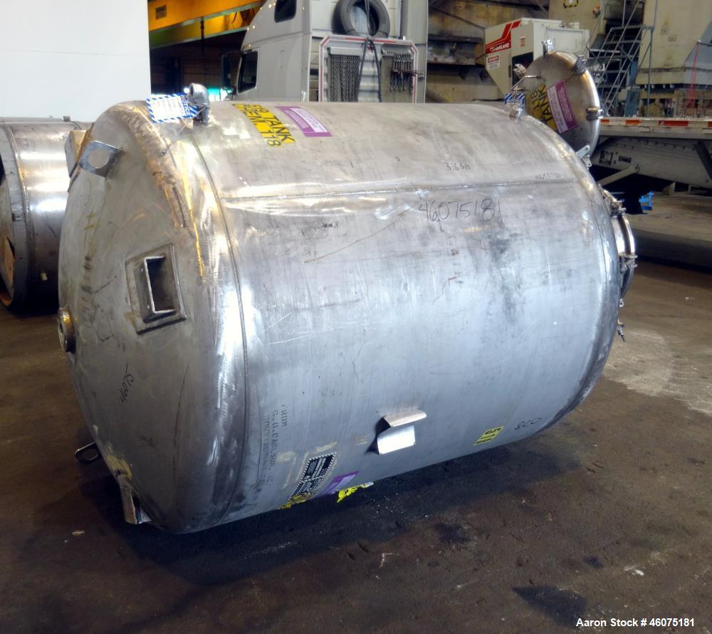 """Used- Tank, 775 Gallon, 316 Stainless Steel, Vertical. Approximate 60"""" diameter x 57"""" straight side, dished top & bottom. Of..."""