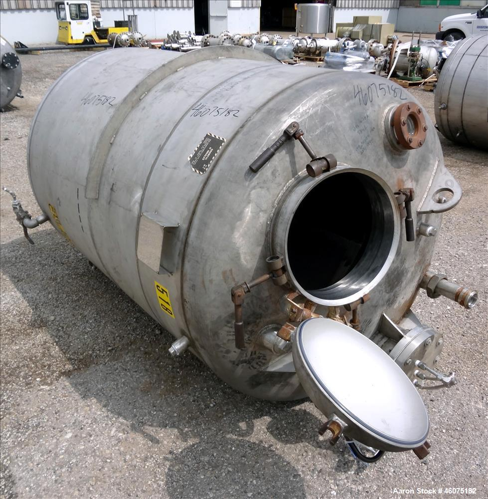 """Used- Tank, 500 Gallon, 304 Stainless Steel, Vertical. Approximate 48"""" diameter x 60"""" straight side, dished top & bottom. To..."""