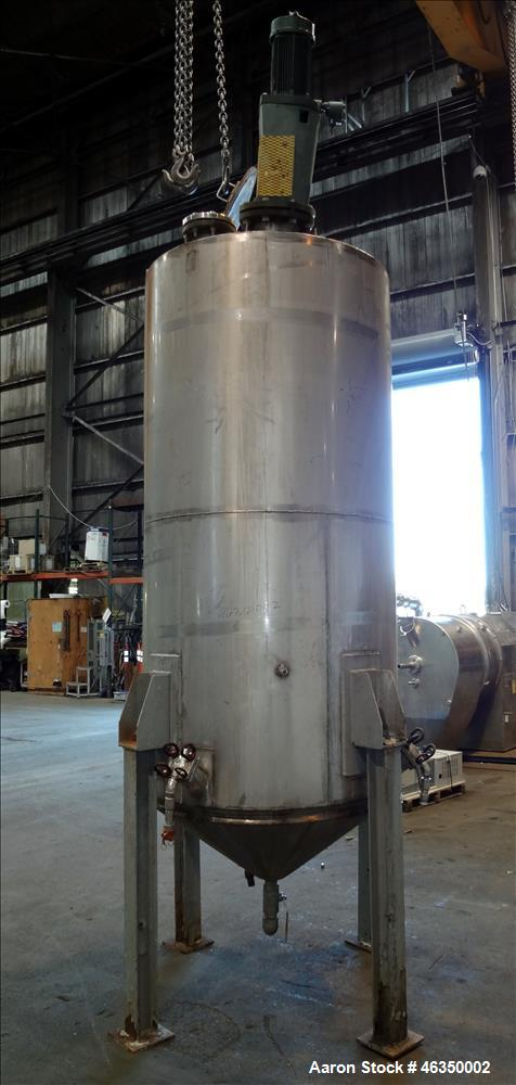 "Used- Tank, Approximately 750 Gallons, 304 Stainless Steel, Vertical. Approximately 48"" diameter x 96"" straight side. Dish t..."