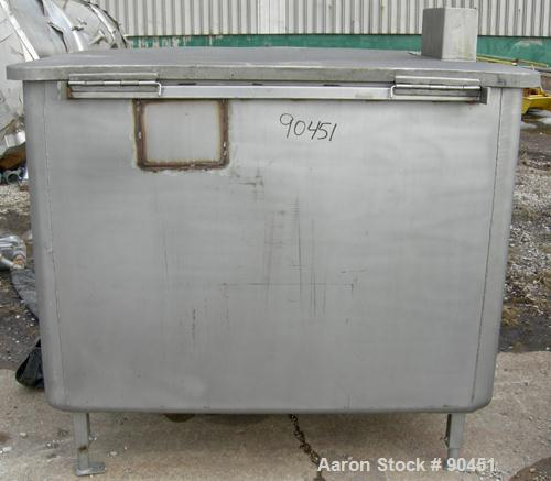 """Used: Tank, 490 gallon, 304 stainless steel, rectangular. 42"""" wide x 60"""" long x 45"""" deep. Open top with a 1 piece hinged cov..."""