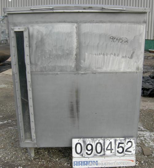 "Used: Tank, 730 gallon, 304 stainless steel, rectangular. 42"" wide x 60"" long x 67"" deep. Open top with a 1 piece hinged cov..."