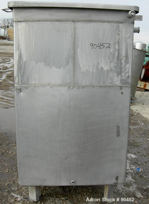 """Used: Tank, 730 gallon, 304 stainless steel, rectangular. 42"""" wide x 60"""" long x 67"""" deep. Open top with a 1 piece hinged cov..."""
