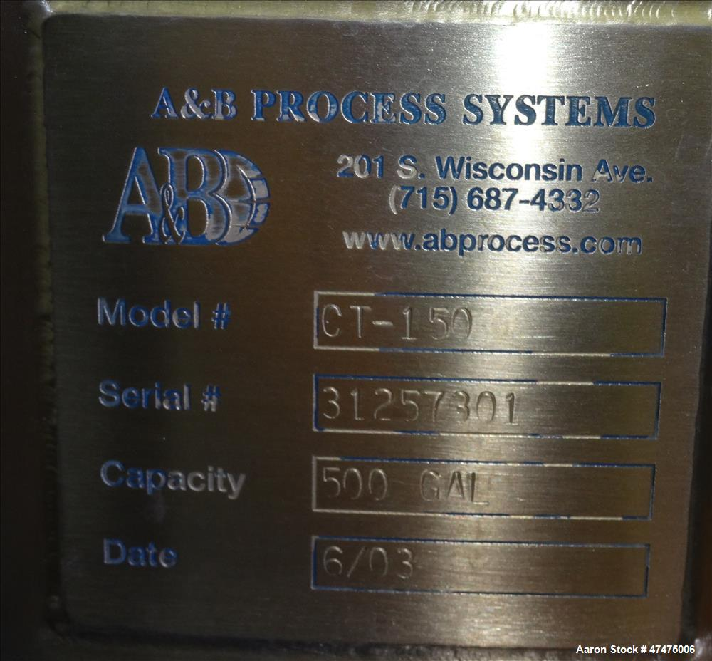 Used- AB Process Tank, Model CT-150, 500 Gallon, 304 Stainless Steel, Vertical.