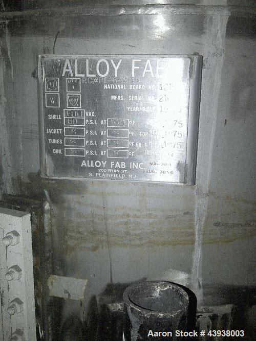Used-Alloy Fab Inc, 500 gallon receiver tank.   Model P1-64985, 304 Stainless Steel.  Full Vacuum 60 psi at 100 degrees F.  ...