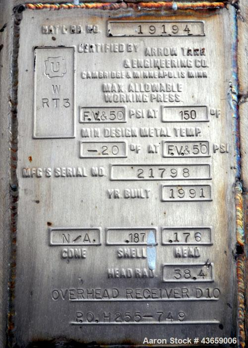 """Used- Arrow Tank & Engineering Pressure Tank, 570 Gallons, 304L Stainless Steel, Vertical. Approximate 48"""" diameter x 68"""" st..."""