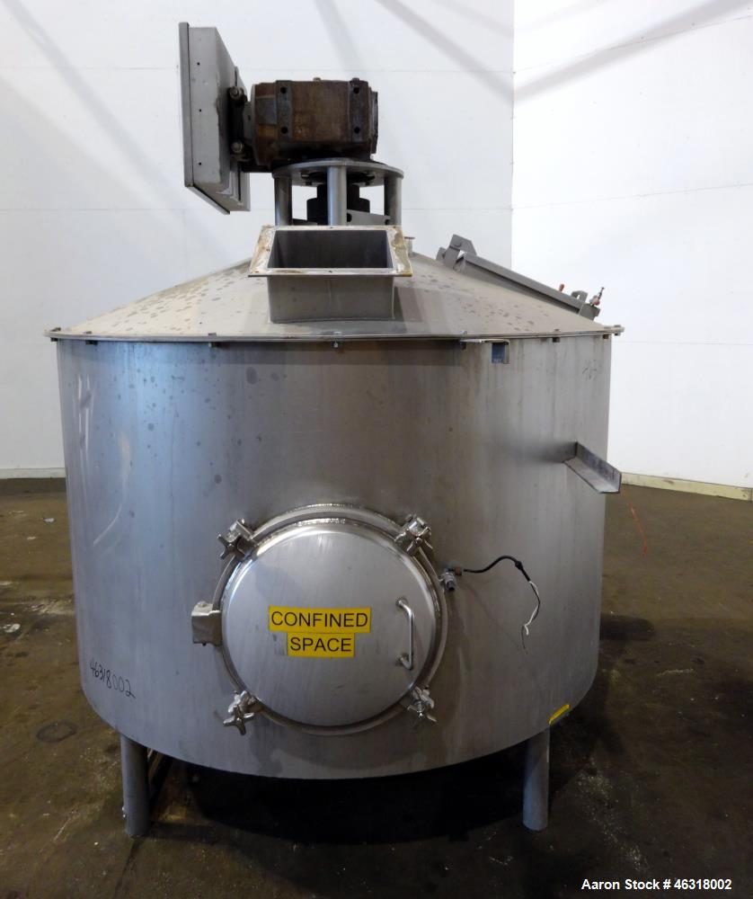 """Used- Blentech Tank, Model Tank 850-A, Approximately 650 Gallons, 304 Stainless Steel, Vertical. 72"""" Diameter x 34"""" straight..."""