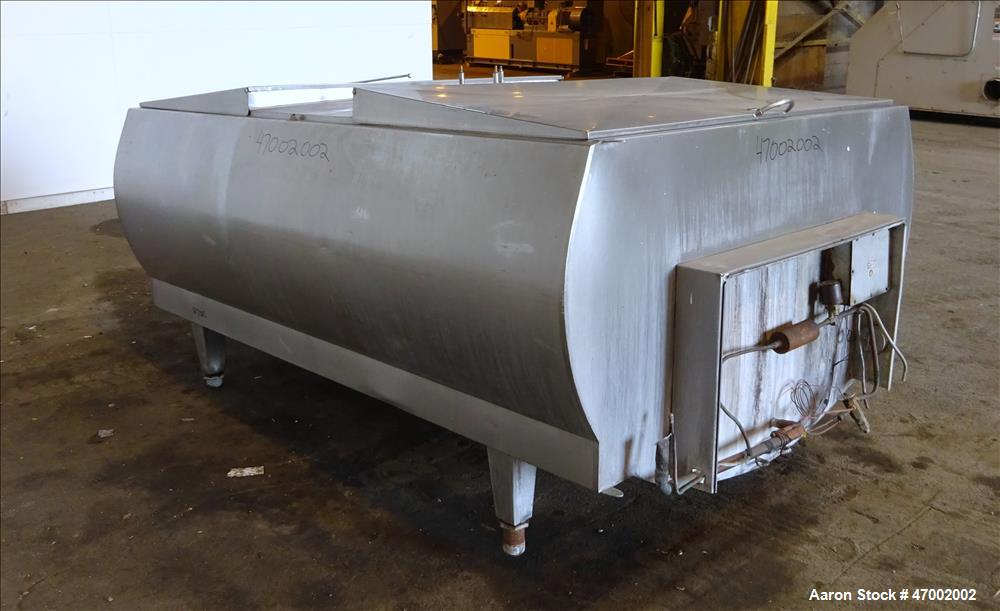"""Used- C.E. Howard Milk Tank, Model H-58, 800 Gallons, 304 Stainless Steel, Horizontal. U-shaped trough approximate 92-1/2"""" l..."""