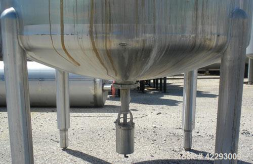 """Used- Cherry Burrell Tank, 600 gallon, 316 stainless steel, vertical. 48"""" Diameter x 72"""" straight side, dish top and bottom...."""