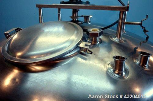 """Used- Cherry Burrell Tank, 750 Gallon, Stainless Steel, Vertical.  60"""" Diameter x 55-1/2"""" straight side, dished top and bott..."""