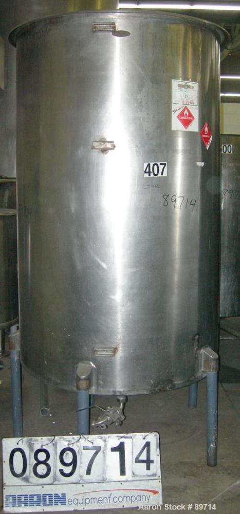 "Used- Chicago Carb-O-Tank, 585 Gallon, 304 Stainless Steel, Vertical. 48"" diameter x 75"" straight side, open top with cover,..."