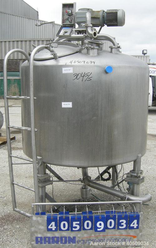 "Used- Creamery Package Tank, 500 Gallon, 304 stainless steel, vertical. 60"" diameter x 39"" straight side. Dished top, coned ..."