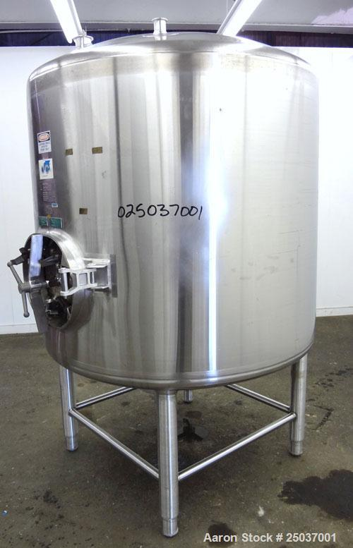"Used- DCI WFI Storage Pressure Tank, 500 Gallon, 316L Stainless Steel, Vertical. 53-3/4"" Diameter x 44"" straight side, dishe..."