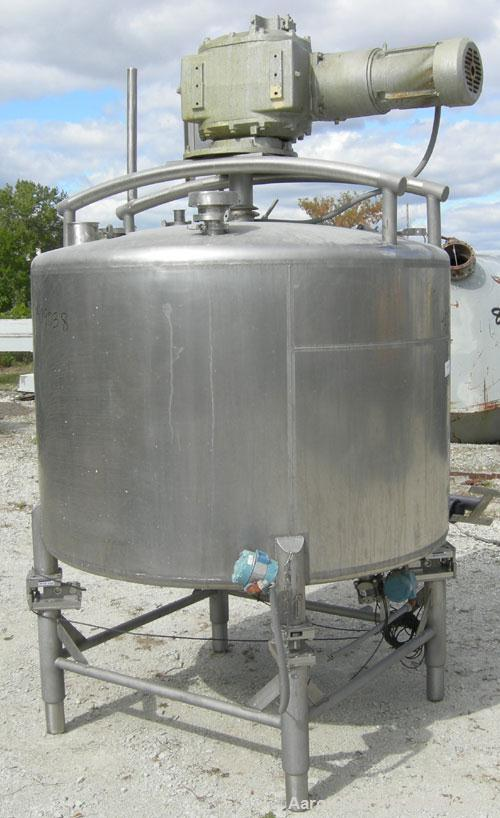 """Used- Dairy Craft Tank, 500 Gallon, 304 stainless steel, vertical. 60"""" diameter x 38"""" straight side. Dished top, coned botto..."""