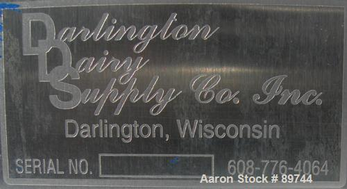 """USED: Darlington Dairy Supply Co tank, 745 gallon, 304 stainless steel, vertical. 56"""" diameter x 71"""" straight side. Flat top..."""