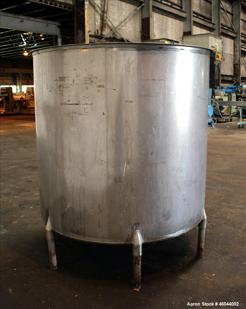 "Used- Filpaco Product Tank, 800 Gallon, 304 Stainless Steel, Vertical. 64"" Diameter x 60"" straight side. Flat top with no co..."