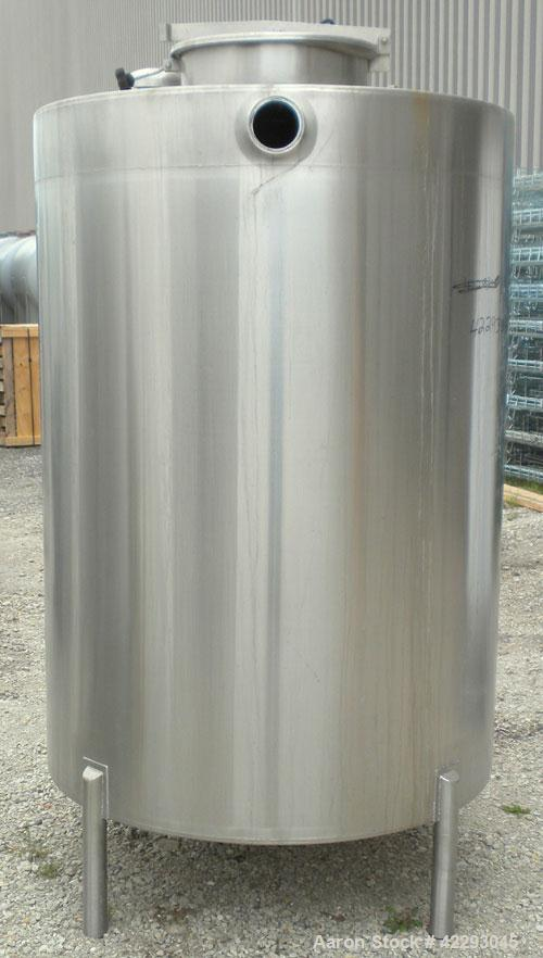 """Used- HartelTank,500 Gallon, 304 Stainless Steel, Vertical.48"""" Diameter x66"""" straight side.Flat top and bottom. Opening..."""