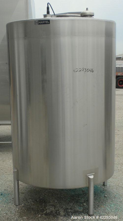 "Used- Hartel Tank, 500 Gallon, 304 Stainless Steel, Vertical. 48"" Diameter x 66"" straight side. Flat top and bottom. Opening..."
