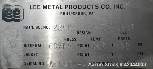 """Used- Lee Metal Products Pressure Tank, 500 gallon, 316 stainless steel, vertical. 48"""" Diameter x 60"""" straight side, dished ..."""
