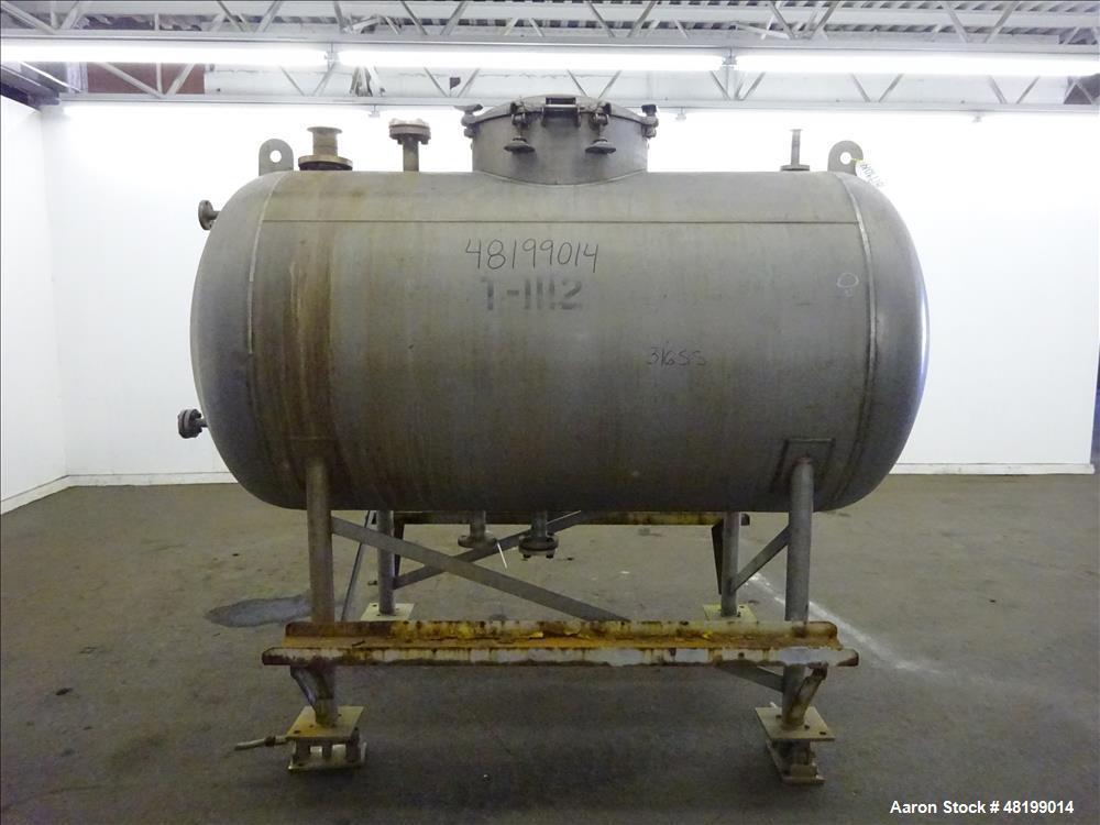 "Used- Lowe-Mar Pressure Tank, 675 Gallon, 316 Stainless Steel, Horizontal. 48"" Diameter x 72"" straight side, elliptical head..."