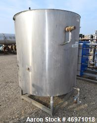 "Used- Tank, Approximate 600 Gallon, Stainless Steel, Vertical. Approximate 54"" diameter x 58"" straight side, flat bolt on to..."