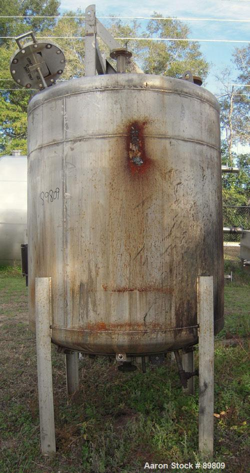 """Used- Metal Equipment Company Tank, 750 gallon, stainless steel, vertical. 60"""" diameter x 60"""" straight side. Dish top and bo..."""