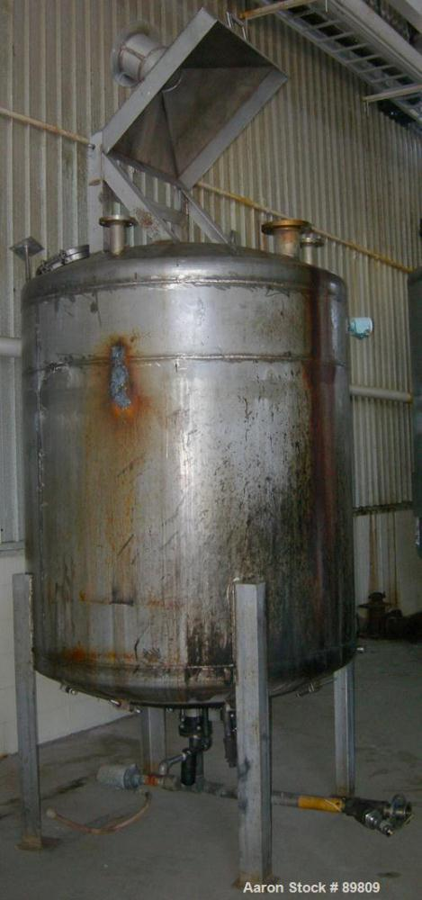 "Used- Metal Equipment Company Tank, 750 gallon, stainless steel, vertical. 60"" diameter x 60"" straight side. Dish top and bo..."