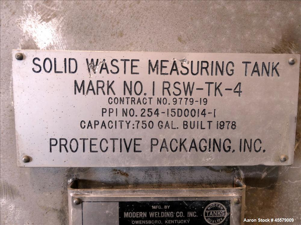 Unused- Modern Welding Tank, 750 Gallon, 304 Stainless Steel