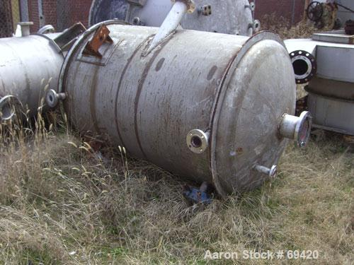 """Used- Modern Welding Pressure Tank, 500 Gallon, 316 Stainless Steel, Vertical. 48"""" diameter x 63"""" straight side, dish top an..."""