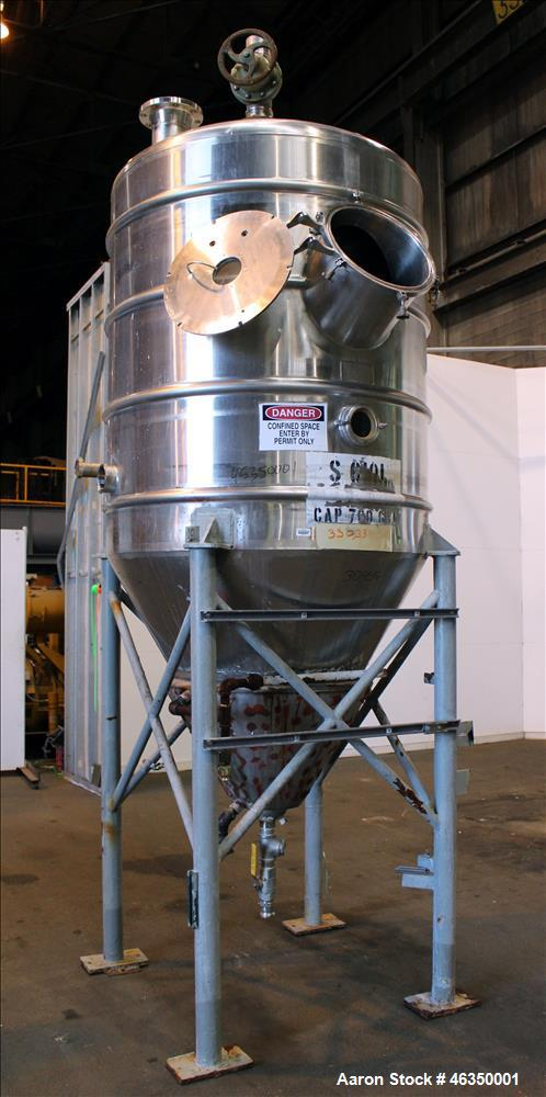 "Used- Mojonnier Brothers Tank, Size 443, Approximately 700 Gallons, 304 Stainless Steel, Vertical. Approximately 54"" diamete..."