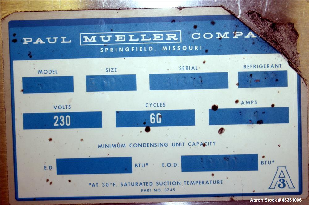 """Used- Mueller Cooling Tank, 500 Gallons, 304 Stainless Steel, Horizontal. Approximately 56"""" wide x 40"""" tall oval x 76"""" strai..."""