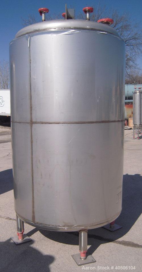 "Unused- Mueller Pressure Tank, 500 Gallon, Model ""F"", 304 Stainless steel, Vertical. 48"" diameter x 72"" straight side, dishe..."