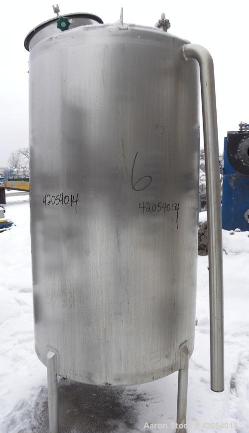 "Used- Lake Process Systems Tank, 500 gallon, model LPS-500, 304 stainless steel, vertical. 44"" diameter x 72"" straight side,..."