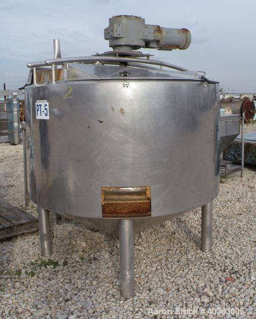 """Used- Tank, 550 Gallon, 316 Stainless Steel, Vertical. Approximately 66"""" diameter x 36"""" straight side x 36"""" coned bottom. Fl..."""