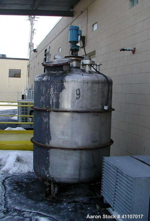 "Used- Tank , 500 gallon, stainless steel, vertical. Approximately 50"" diameter x 60"" straight side,  dish top and bottom. To..."