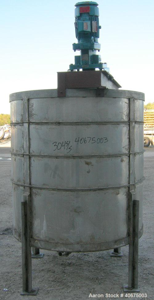 "Used- Tank, 700 gallon, 304 stainless steel, vertical. 58"" diameter x 60"" straight side. Open top, no cover, coned bottom. O..."