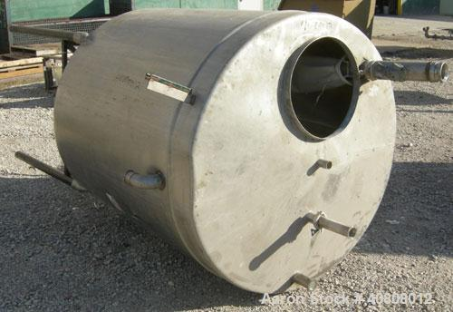 "Used- Tank, 500 Gallon, 304 Stainless Steel, Vertical. 52"" diameter x 55"" straight side. Slight coned top, sloped bottom. Op..."